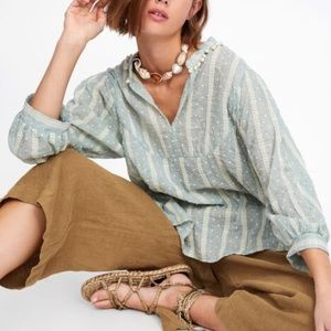 NWT Zara Embroidered Blouse